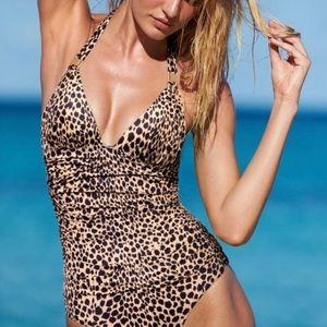 Victoria's Secret leopard halter swimsuit size L